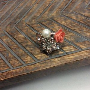 Jewelry - Coral Multimedia Ring with Rhinestone and Pearls